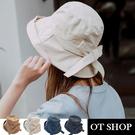 [現貨]帽子 大帽檐蝴蝶結 帽檐軟鐵絲 棉質透氣內裡 防紫外線 盆帽 遮陽帽 穿搭配件 C2093 OT SHOP