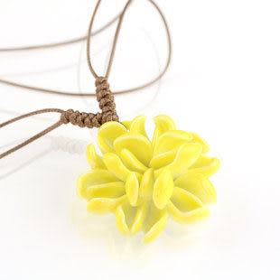 手捏瓷花 嫩芽花開 陶瓷項鏈 多層