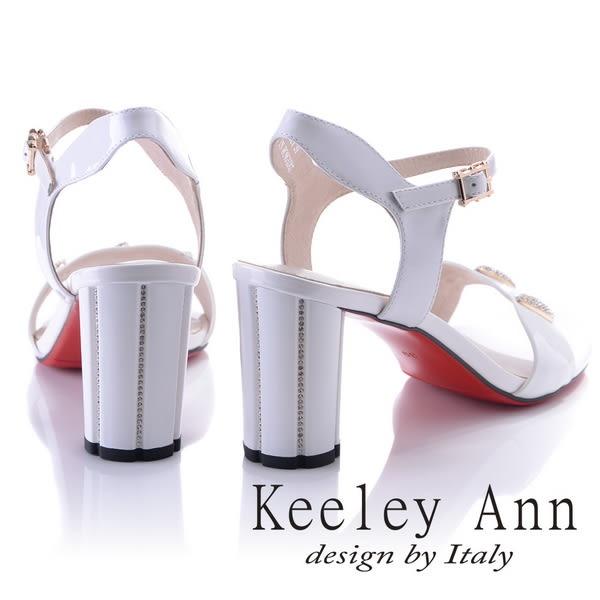 ★2018春夏★Keeley Ann獨特魅力~閃耀水鑽飾釦真皮高跟涼鞋(白色) -Ann系列