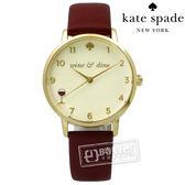 kate spade / KSW1188 / 紅醇美酒佳餚真皮手錶 米白x金框x酒紅 34mm
