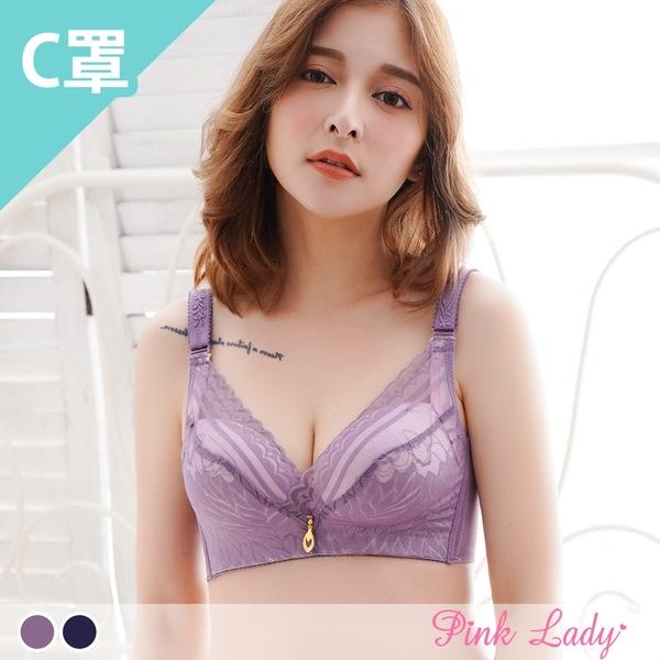 【C罩杯】無鋼圈內衣 午後花語 薄襯單件內衣3586(藍、紫)-Pink Lady