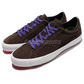 Converse 滑板鞋 One Star Pro Leather 咖啡 白 麂皮 星星 經典款 基本款 男鞋【PUMP306】 153481C