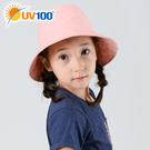UV100 防曬 抗UV-印花馬尾漁夫童帽-雙面戴