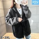 【V3253】shiny藍格子-原宿休閒.撞色拼接內絨連帽外套