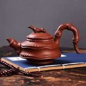 朱泥紫砂茶壺球孔手工原礦側把竹節壺功夫茶具泡茶器帶過濾網