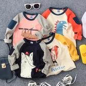2019秋新款卡通圖案口袋長袖T恤男童女童寶寶打底衫上衣體恤【免運】