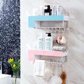 免打孔墻上置物架浴室塑料架子衛生間壁掛式收納架毛巾桿 中秋烤肉架88折熱賣