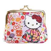 〔小禮堂〕Hello Kitty 日製棉質口金零錢包《淺紫.和服.蝴蝶.花》MANUFATTO系列 4582135-12745