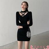 性感洋裝心機打底針織連身裙女2021新款秋冬緊身加厚掛脖裙子性感包臀短裙 芊墨 新品