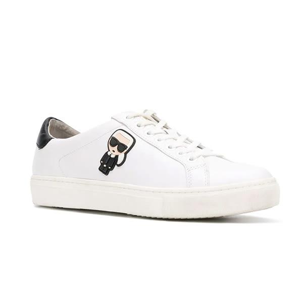 Karl Lagerfeld 卡爾 老佛爺 女鞋 KUPSOLE Q版綁帶休閒女鞋-白