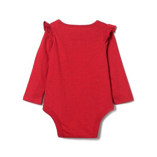 Gap女嬰兒 布莱纳小熊刺繡柔軟舒適圓領長袖三角式包屁衣 402666-摩登紅色