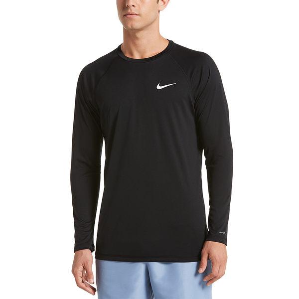 Nike 黑 長袖 緊身防曬衣 抗紫外線 腳踏車服 UPF 40+ 吸濕 排汗 游泳 健身 上衣 NESS9532-001