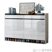 門口鞋櫃簡約現代門廳櫃鞋櫃家用大容量儲物櫃白烤漆隔斷組合鞋櫃  (橙子精品)