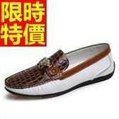牛皮豆豆鞋-紳士風個性真皮男休閒鞋3色59b30[巴黎精品]