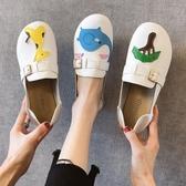 軟底豆豆鞋女2019春季新款圓頭可愛大頭娃娃鞋平底兩穿一腳蹬單鞋