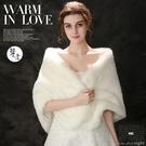 新娘婚紗披肩冬季結婚外套旗袍伴娘禮服紅白...