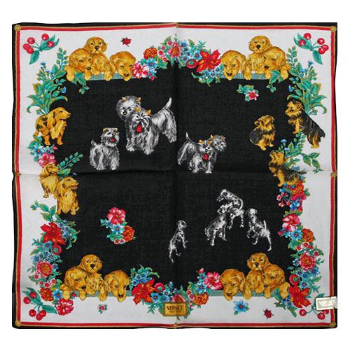 VERSACE小狗花園圖紋純棉手帕領巾(黑白色)989017-17