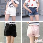 女童夏季韓版牛仔短褲破洞中大童兒童白色純棉外穿百搭寬鬆熱褲子 店慶降價