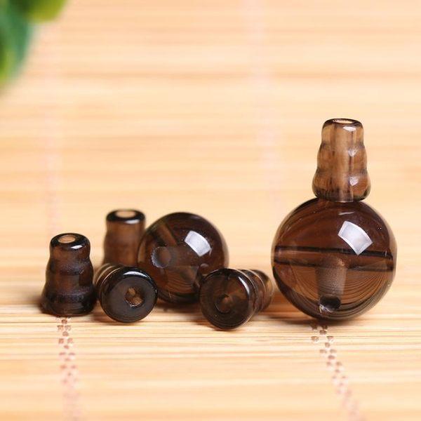 [超豐國際]DIY茶水晶三通佛頭煙晶半成品手鏈手工飾品串珠圓1入