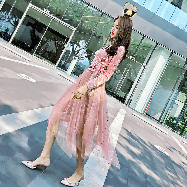 VK旗艦店 韓系時尚金絲絨上衣亮片網紗裙套裝長袖裙裝