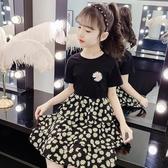 女童雪紡裙 洋裝夏季洋氣小雛菊公主裙兒童短袖T恤2020夏天雪紡裙