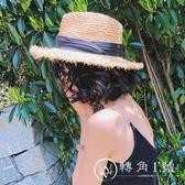 遮陽帽  正韓海邊休閑巴拿馬禮帽毛邊拉菲草帽子女夏天沙灘帽