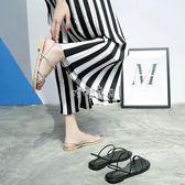 女性平底涼鞋 新款韓版百搭平底涼鞋女細帶露趾沙灘鞋簡約 珍妮寶貝