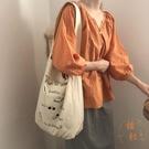 簡約風插畫百搭側背帆布包手提購物袋女【橘社小鎮】