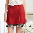 Scottish House 氣質純色拼接格紋下擺短裙 W2151