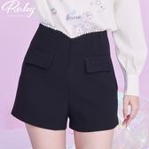 褲子 珍珠滾邊高腰休閒短褲-Ruby s 露比午茶