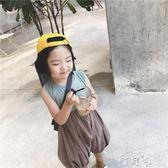 夏季女童連身褲韓版拼色休閒寶寶大pp褲燈籠褲 町目家