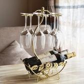 創意紅酒架倒掛酒架紅酒杯架鐵藝葡萄酒架子歐式放酒瓶架時尚擺件 英雄聯盟MBS
