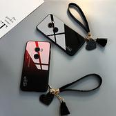 小米 MIX2 手機殼 玻璃鏡面防摔保護套 漸變時尚 個性簡約男女款 創意手繩 全包手機套 小米mix2