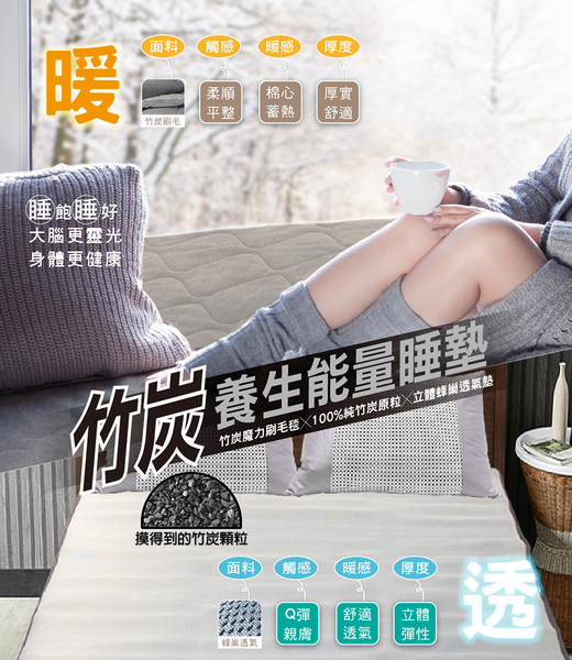 【皇家竹炭】竹炭養生能量睡墊_單人3.5*6.2尺