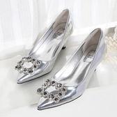 銀色高跟鞋中跟水 方扣單鞋伴娘新娘婚鞋女婚紗鞋婚禮鞋限時八九折