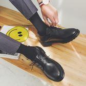 新款英倫韓版大頭鞋男真皮復古馬丁鞋時尚潮流圓頭工裝鞋低幫皮鞋 維多原創 免運
