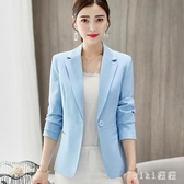 新款業百搭西服長袖韓版修身顯瘦小西裝外套女短款 OO1401【VIKI菈菈】