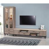 【森可家居】麥町古橡木9尺L櫃組 8SB193-5 展示 電視櫃