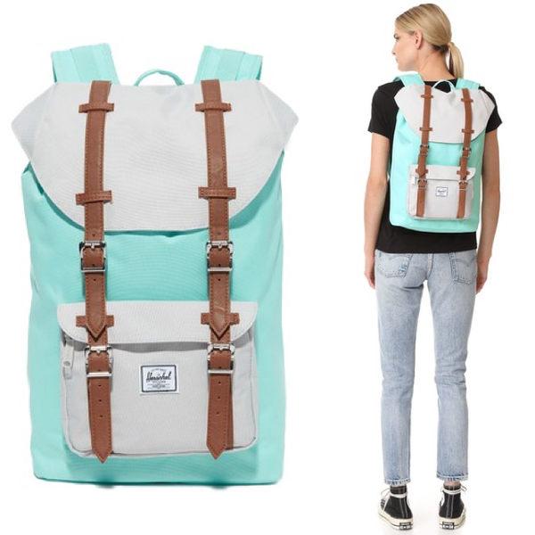 Hsin 83折 現貨 Herschel Little America 中型 藍綠 白色 皮革帶 磁扣 厚筆電層 女生 帆布 束口 後背包