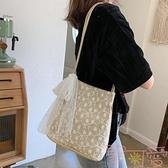 包包韓版草編蕾絲單肩包手提包女士大容量水桶購物袋【聚可愛】