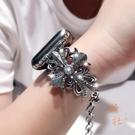 適用蘋果Apple watch錶帶克羅心手鐲金屬水鉆iwatch1/2/3/4代【橘社小鎮】
