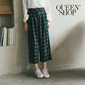 Queen Shop【04110137】配色格紋低檔寬褲 S/M*現+預*