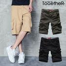 ToGetheR+【MCK006】個性百搭款側邊立體口袋設計造型車線休閒工作短褲(三色)