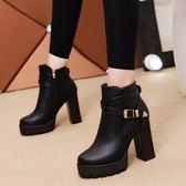 秋冬季新款粗跟女靴馬丁靴潮女短靴歐美短筒靴子高跟短筒女鞋