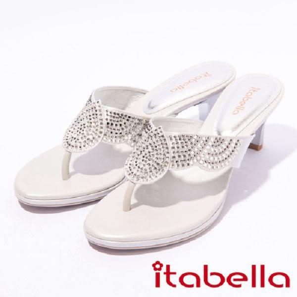 ★2017春夏新品★itabella.雙色水鑽亮麗高跟拖鞋(7324-85銀)