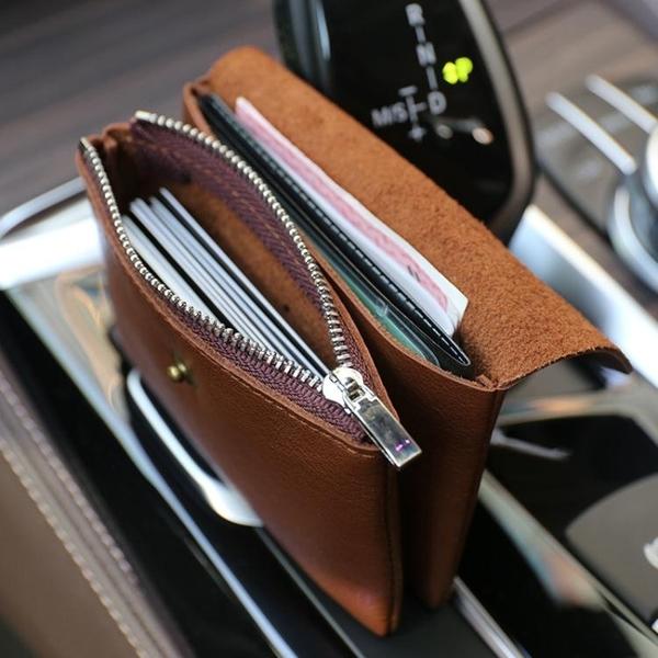 錢包 復古手工零錢包頭層植鞣牛皮硬幣包男女迷你真皮卡包小錢包駕照包 曼慕