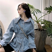 春秋複古港味單排扣長袖收腰綁帶牛仔外套女寬鬆韓版2020新款上衣