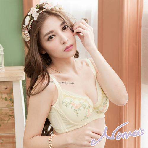 【露娜斯】春氛夢境 浪漫雪紡。高脅邊包覆防副乳機能內衣【黃】台灣製U8132