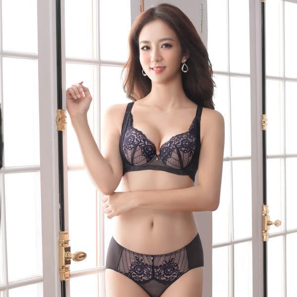 思薇爾-波希女伶系列B-E罩蕾絲包覆大罩內衣(墨紫黑)