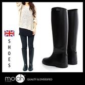 長筒雨鞋 長靴 防水馬靴 英國男女款素面顯瘦防滑高筒雨靴 mo.oh (歐美鞋款)